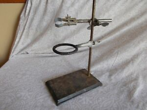 Vintage Fisher Scientific Lab Stand Cast Iron With Ring And Test Tube Holder