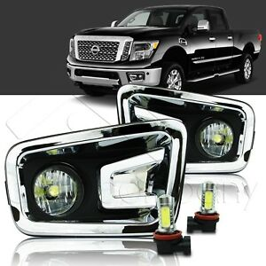 For 2016 2017 Nissan Titan Xd Fog Lights W wiring Kit Cob Led Bulbs Clear