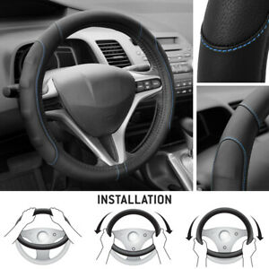 Soft Smooth Pu Leather Steering Wheel Cover For Honda Civic 2007 2012 Blue