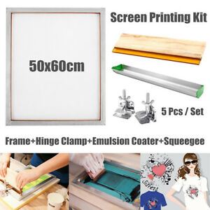 5pcs Set Screen Printing Kit Aluminum Frame hinge Clamp emulsion Coater squeegee