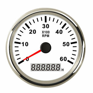6000rpm 85mm Marine Tachometer Car Gas Diesel Engine Boat Gauge Led Hour Meter
