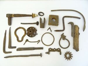 Mixed Lot Of Wrought Iron Metal Nails Primitive Tools Rings Artists Parts Pieces