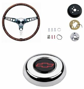 Grant 13 5 Wood Steering Wheel installation Kit red Horn Button For Impala