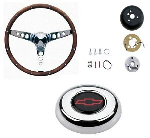 Grant 13 5 Wood Steering Wheel installation Kit chevy Red Horn Button For S10