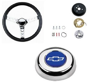 Grant Classic Steering Wheel installation Kit blue Bowtie Horn Button For Blazer