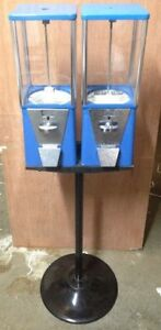 Two way Oak Vista Candy Toy Gumball Vending Machine With Pipe Stand Old