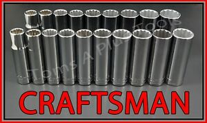 Craftsman Hand Tools 19pc 1 2 Deep Sae Metric Mm 12pt Ratchet Wrench Socket Set