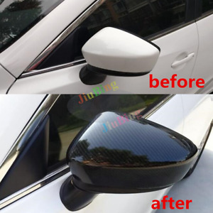 2pcs For Mazda 3 Axela 2017 Carbon Fiber Style Rearview Mirror Cover Trim Y
