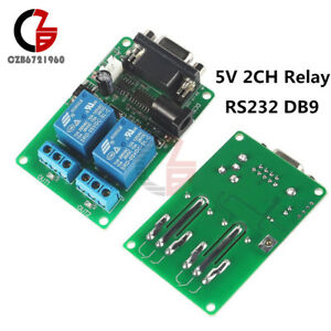 Rs232 Db9 Serial Control Relay Dc 5v 9 12v 2 Channel 2ch Switch Board For Scm Pc