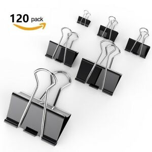 Osportfun Binder Clips Paper Clamp For Paper 120 Pcs Clips Paper Binder Sizes