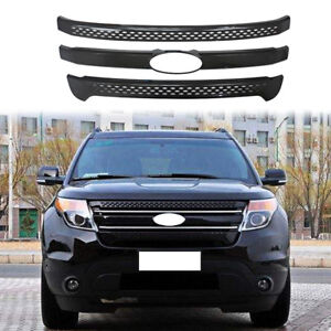 For 2011 2012 2013 2014 2015 Ford Explorer Front Grille Cover Trim Gloss Black