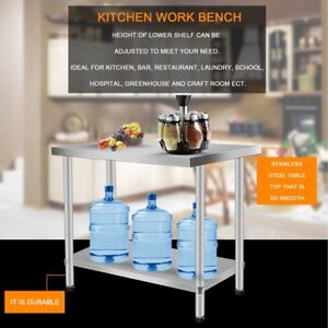 Rolling Stainless Steel Top Kitchen Work Table Cart Shelving 30 x24 Sw