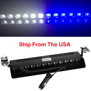 12 Led Emergency Warning Flashing Strobe Light Dash Deck Visor Lamps Blue White