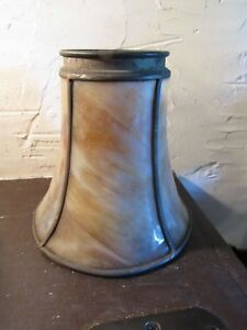 Antique Bent Slag Glass Lamp Shade Arts Crafts Nouveau