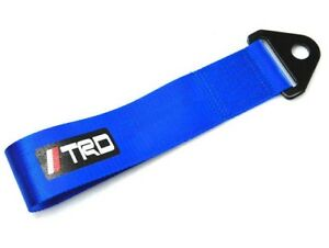 Universal Jdm High Strength Trd Tow Strap Front Or Rear Bumper Towing Hook Blue