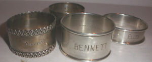 Vintage Lot Of 4 Sterling Silver Napkin Ring Rings Wilcox Gorham Wallace