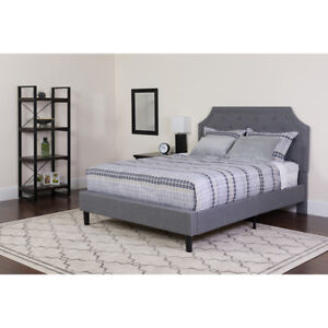 Full Size Platform Bed With Headboard Button Tufted Gray Fabric Upholstery