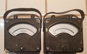Vintage Westinghouse Type Px 4 Volt And Amp Meters