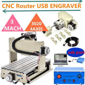 Usb 4 Axis 3020 Cnc Router Engraver Engraving Milling Machine 3d Mach 3 Cutter