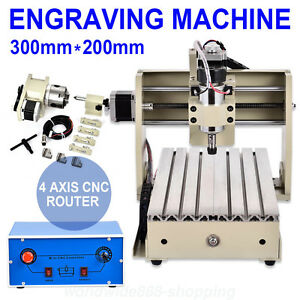 4 Axis 3020 Cnc Router Engraver Engraving Drilling Milling Machine Woodworking