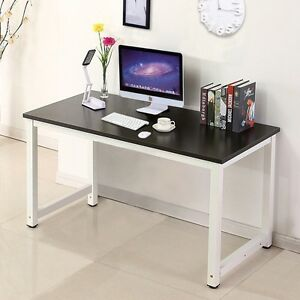 Modern Black Wood Computer Desk Pc Laptop Table Workstation Study Home Office
