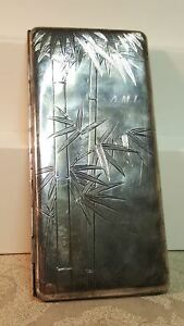Vintage 950 Sterling Silver Bamboo Engraved 208g Card Case 3 3 X 6 7