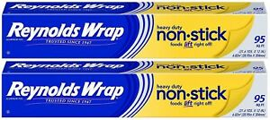 2 Pack Reynolds Wrap Heavy Duty Non stick Aluminum Foil 95 Sq Ft Packet Cook