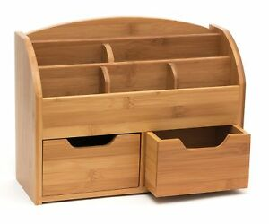 Bamboo Wood W 6 Compartments 2 Deep Drawers Space saving Office Desk Organizer