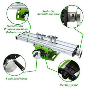 Milling Machine Compound Work Table Cross Drill Press Vise Fixture Double Track
