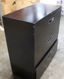 Herman Miller Meridian 3 drawer Lateral Filing Steel Cabinet Black Good Cond