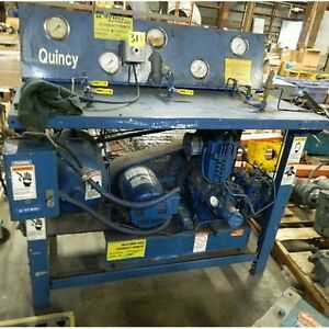 Quincy 310 Air Compressor 550psi Test Bench W baldor Motor 3ph 5 Hp M5218t