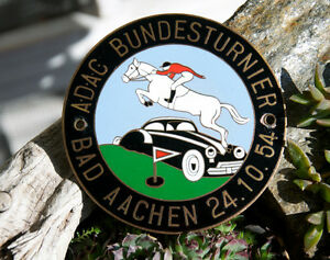 Vintage Enamel German Automobile Car Badge Adac Rally Bad Aachen 1954
