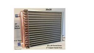 20x20 Water To Air Heat Exchanger 1 Copper Ports W Ez Install Front Flange
