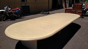 Conference Room Table Bleached White 68 x 180 Solid Wood Wedeliverlocallynorca