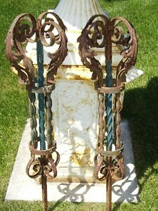 2 Architectural Cast Iron Roof Finial Lightning Rod Weathervane Acanthus Crowns