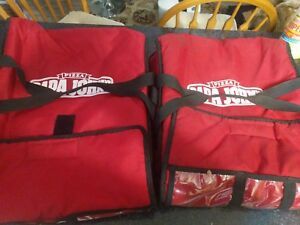 2x Papa Johns Pizza Insulated Hot Pizza Delivery Large Bag Red Carrying Tote
