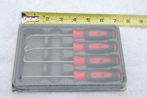 New Snap On Sgasa204cr 4 Piece Soft Grip Red Mini Awl Hook Pic Set