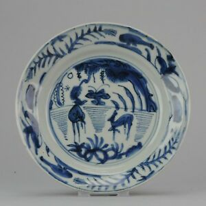 Antique Chinese 17th Century Wanli Kraak Plate Deers Wanli Ming Tianqi