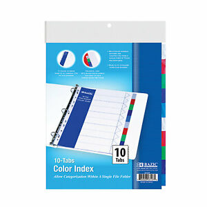 Bazic 3 ring Binder Dividers With 10 Color Tabs