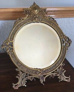 Antique Victorian Bronzed Metal Bradley Hubbard B H Hanging Table Mirror 3603