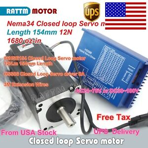 us Stock 12n m Nema34 Servo Motor Closed Loop 8a Hybrid Hss86 Driver Cnc Kit