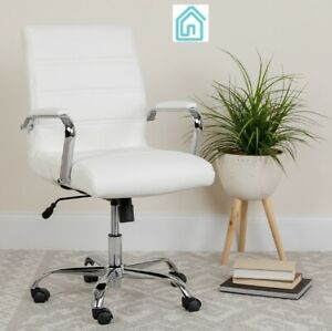 Lot Of 12 White Leather Modern Office Chairs Conference Room Home Furniture