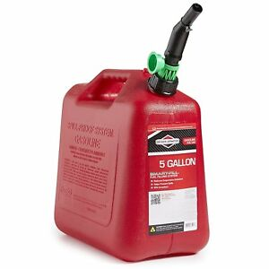 5 Gallon Gas Can Auto Shut Off Smart Fill Spout With Twist Anchor Push Red New