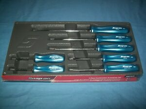 New Snap On Pearl Blue Hard Handled 7 Piece Screwdriver Set Sddx70apb Sealed