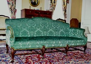 Queen Anne Sofa Circa 1875 With Fine Proportions Carved Knees Eng Or Amer