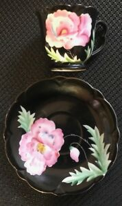 Vintage Hand Painted Shashi Japan Porcelain Tea Cup And Saucer Bold Floral