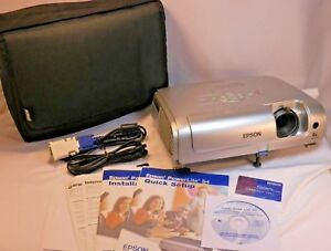 Epson Lcd Projector Emp s4 With Case Cables And Manuals Clean Working Fast Ship