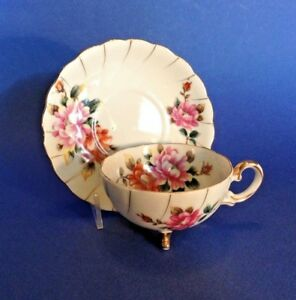 Footed Cup And Saucer With Hand Painted Pink And Orange Mums Ucagco Japan