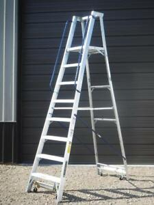New Ap5008 Louisville Ladder 8 Foot Aluminum Mobile Platform Rolling Step Ladder