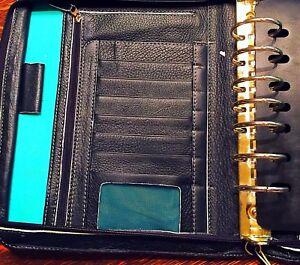 Franklin Covey Planner Binder Classic Black Leather Zippered 7 Ring